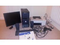 Dell Dimension 3100 Desktop PC, printer, monitor, speakers including all cables, manuals