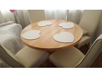 Light oak veneer table and chairs