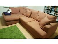 NEXT HOME Stratus V Large Chaise End Corner Sofa - Left Hand (4 Seats) in Matte Mandarin Colour