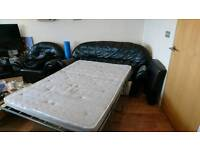 Black leather Sofa bed and 2 chairs