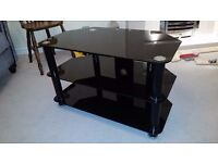Black Glass and Chrome TV Stand (suitable 40+ inch)