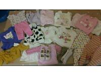 3-6 months baby girl bundle of clothes & pair of shoes