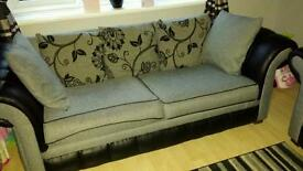 3 and 2 seater fabric/leather sofa
