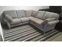 Gray fabice corner sofa ex display