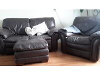 2 seater sofa, single chair and footstool