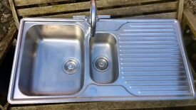 Franke 1 1/2 bowl stainless steal sink and taps