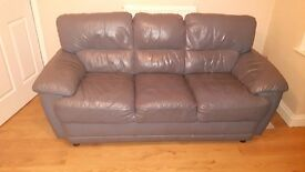 Blue leather 3 seater and 2 seater sofa