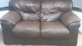 2 x Brown Genuine Soft Leather 2 Seater Sofa's