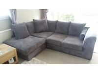 Grey cord corner sofa and three seater sofa only 6 months old smoke free house buyer must uplift