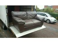 Brown leather 2 seater sofa £125 delivered
