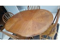 Solid wood Dining table with removable centre piece & 4 Chairs