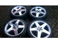 GENUINE MERCEDES BENZ 19 INCH ALLOY WHEELS 5x112 NEW TYRES VITO VANEO T4 AUDI VW A6 A8 AMG