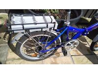 folding blue electric bike