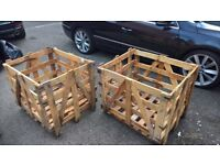 heavy wooden storage crates