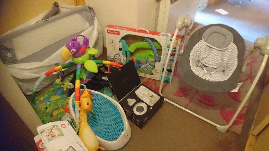 Baby equipment - job lot. Crib, play gyms, swing, seat, bath seat ...