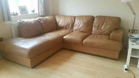Tan leather L shaped sofa with matching 2 seater