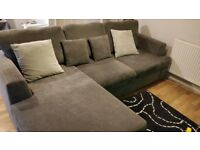 Sofa with chaise longue (left or right side) - smoke & pet free home - very good condition