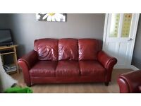 Peyton Natural leather sofa and chair with rolled arms and wooden feet