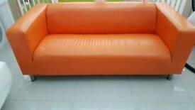 Orange PU leather sofa
