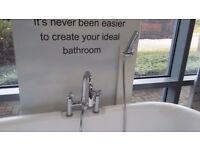 Bath Shower Mixer X Handle c/w Handset & Hose Chrome