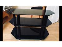 Elegant and modern black tv stand with chrome