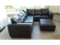 leather corner unit plus poffee approx 5ft x5ft