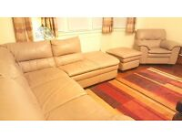 Leather Corner Sofa, Armchair & Footstool