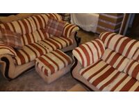 Luxury 2 + 3 seater settee, sofa's + matching storage footstool.