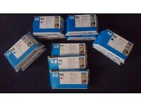 HP DESIGNJET 90 - BOXED & SEALED printer inks (2 of every colour ie 8) & printhead & cleaners ( 3)