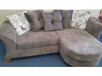 New Modern Luxury Fabric Sofa with Reversible Chaise Mink