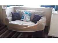 Two brown sofas: A sofa with 2 seater & a bed sofa with 3 seater. Included sofa covers & cushions.