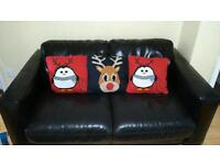 Double leather sofa with matching double leather stool
