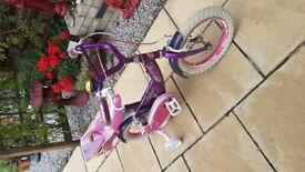 Childs bike with carrier purple and pink with stabilise