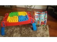 Mega Bloks First Builders Build 'n' Learn Table plus Blocks