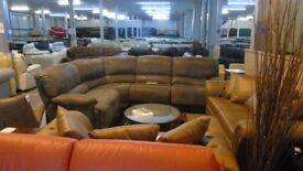 PRE OWNED Power Reclining Corner Sofa in Dark Grey Suede Effect Fabric