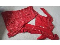 Red party lengha with detailed embroidery size 8