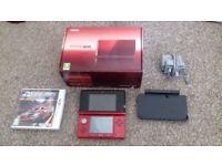 Nintendo 3DS metalic red with 1 game, Ridge Racer