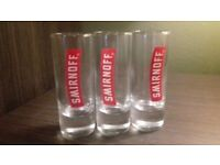 3 Tall Shot Glasses perfect condition