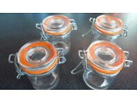 4x small glass jars with metal closing