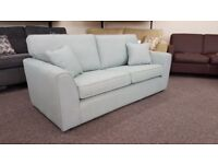 Ex Display 3 Seater Light Blue Fabric Sofa Can Deliver View Collect Hucknall Nottingham