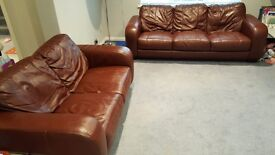 REDUCED!! 3 & 2 SEAT LEATHER SOFA & FOOTSTOOL