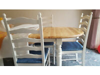 Farmhouse table & 4 chairs cream shabby chic kitchen dining set 80