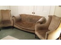 FREE settee and two high back chairs 3 piece suite beige genuine classic antique