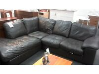 brown leather corner suite and armchair