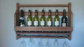 Rustic Solid Oak Hand Made Wine Rack