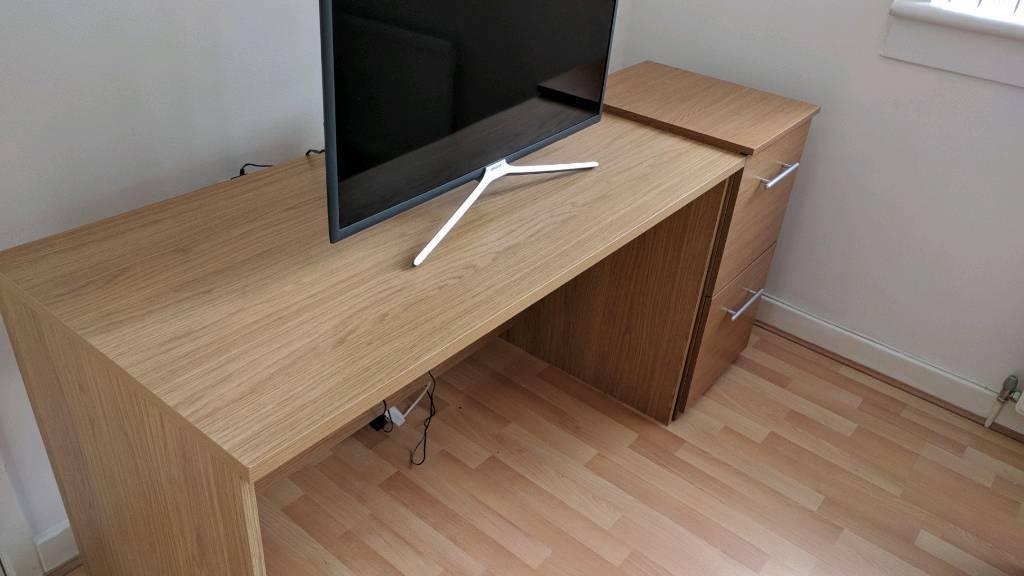 Oak Computer Desk And Filing Cabinet