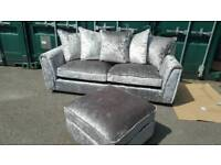 NEW Designer Glitz Crushed Velvet 3 Seater Sofa + Footstool DELIVERY AVAILABLE
