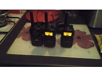 3 binatone walkie talkies all in fully excellent working with chargers