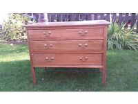 Small pine commode with three drawers