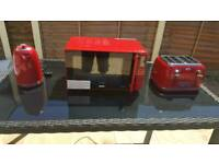 Red Microwave & 4 slice Toaster and Kettle